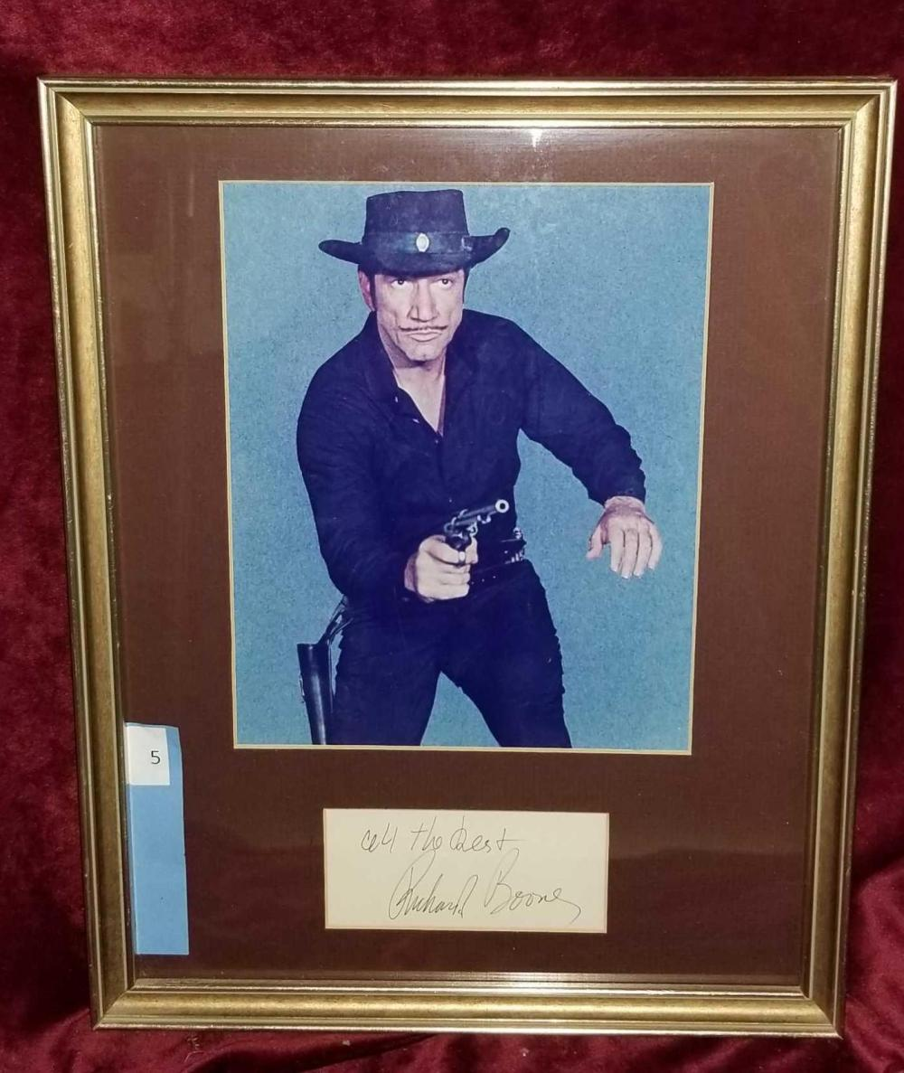 RICHARD BOONE FRAMED GUNFIGHTER PHOTO & SIGNATURE
