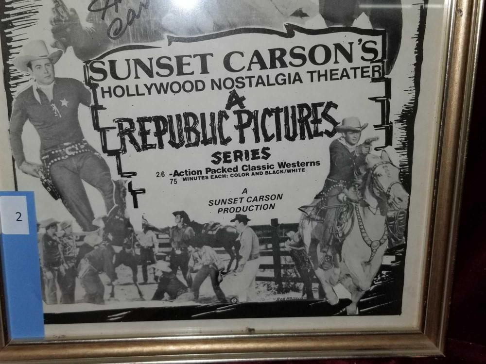 Lot 2: SUNSET CARSON SIGNED MOVIE POSTER