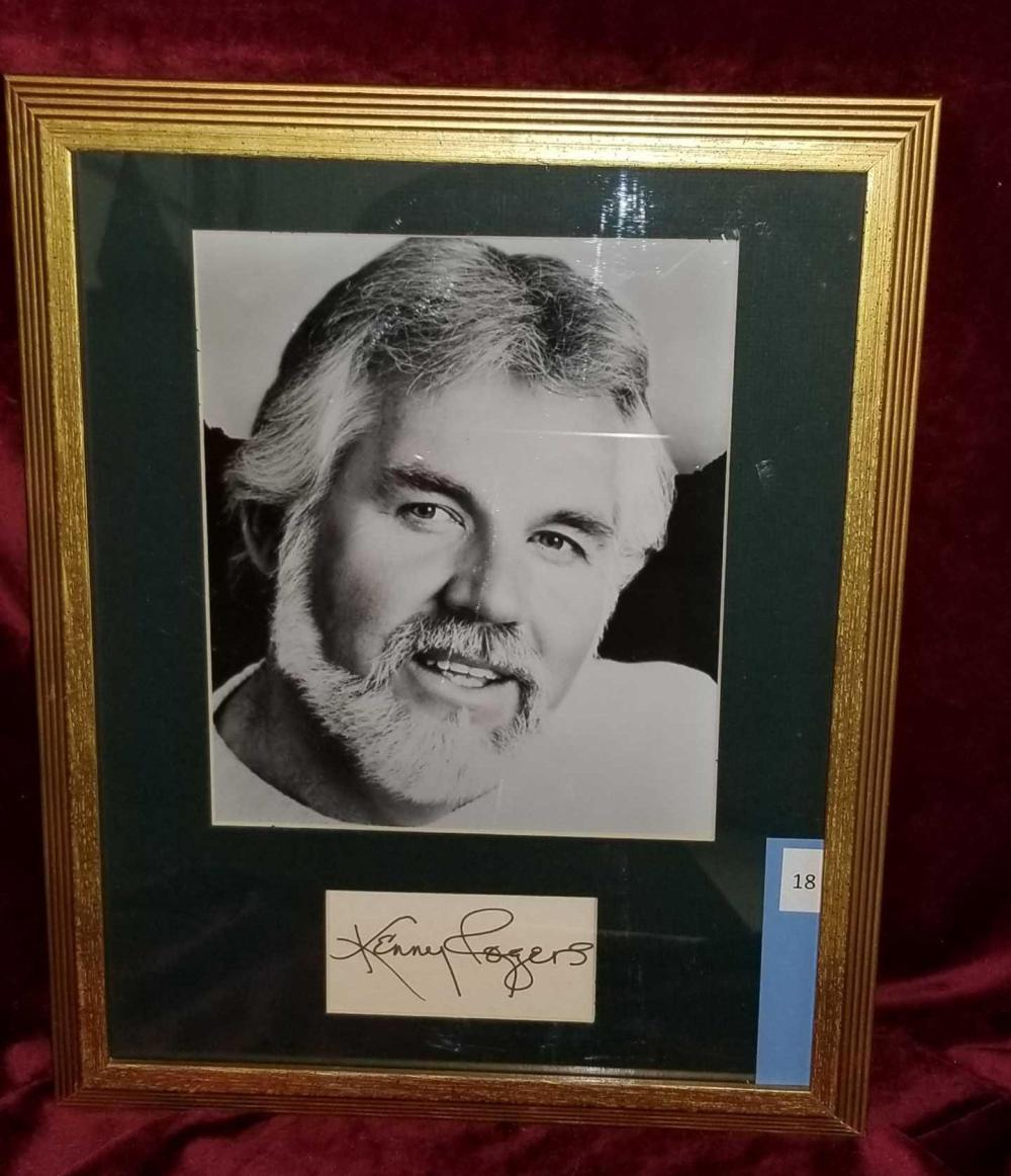KENNY ROGERS FRAMED BLACK & WHITE PHOTO & SIGNATURE CARD FRAMED