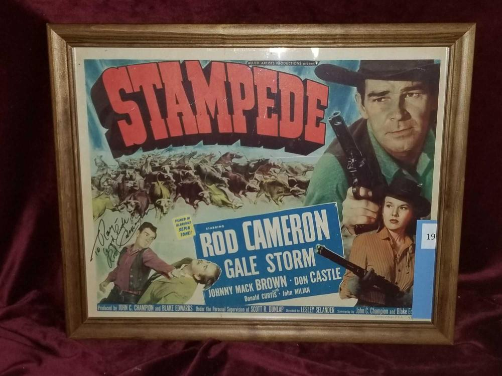 """STAMPEDE"" MOVIE LOBBY CARD SIGNED BY ROD CAMERON"