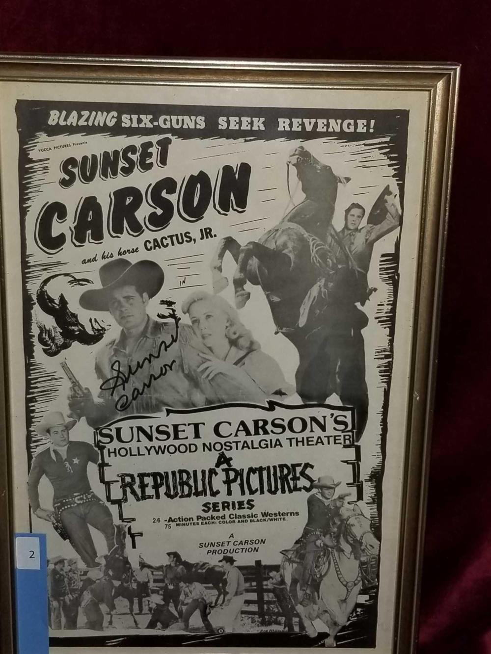 SUNSET CARSON SIGNED MOVIE POSTER