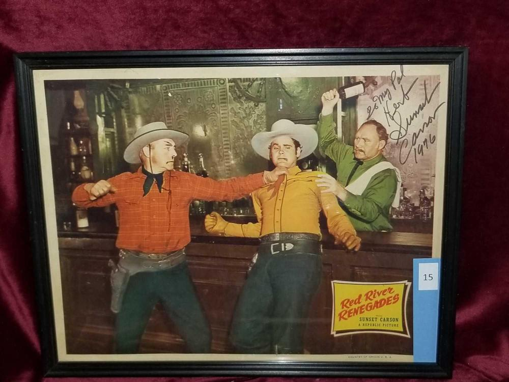 """RED RIVER RENEGADES"" MOVIE LOBBY CARD SIGNED SUNSET CARSON"