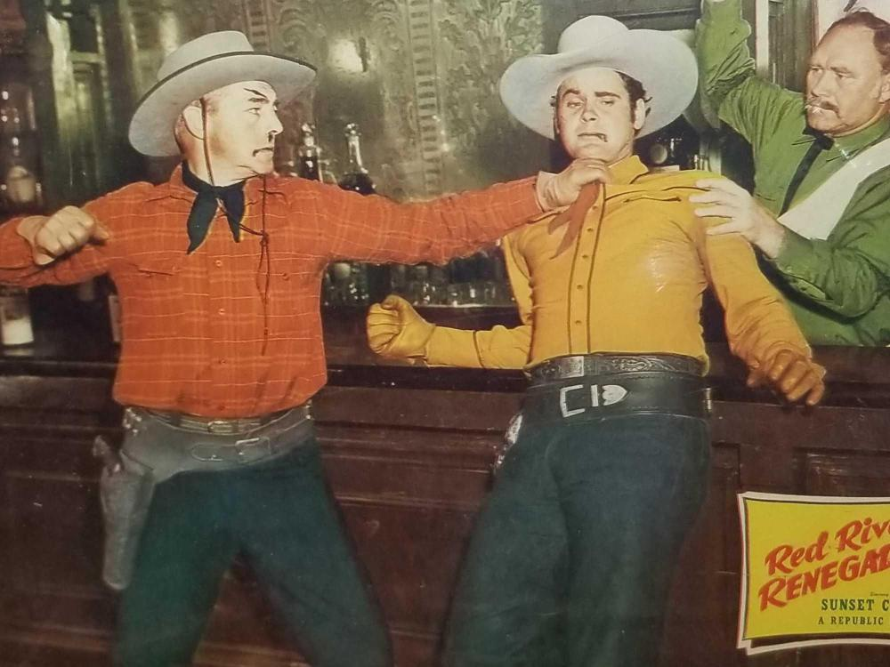 """Lot 15: """"RED RIVER RENEGADES"""" MOVIE LOBBY CARD SIGNED SUNSET CARSON"""