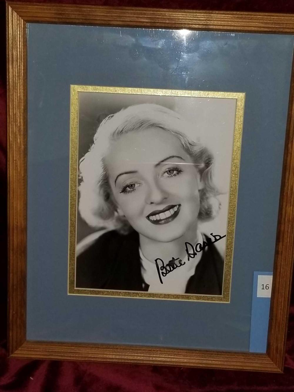 BETTE DAVIS SIGNED BLACK & WHITE PHOTO FRAMED