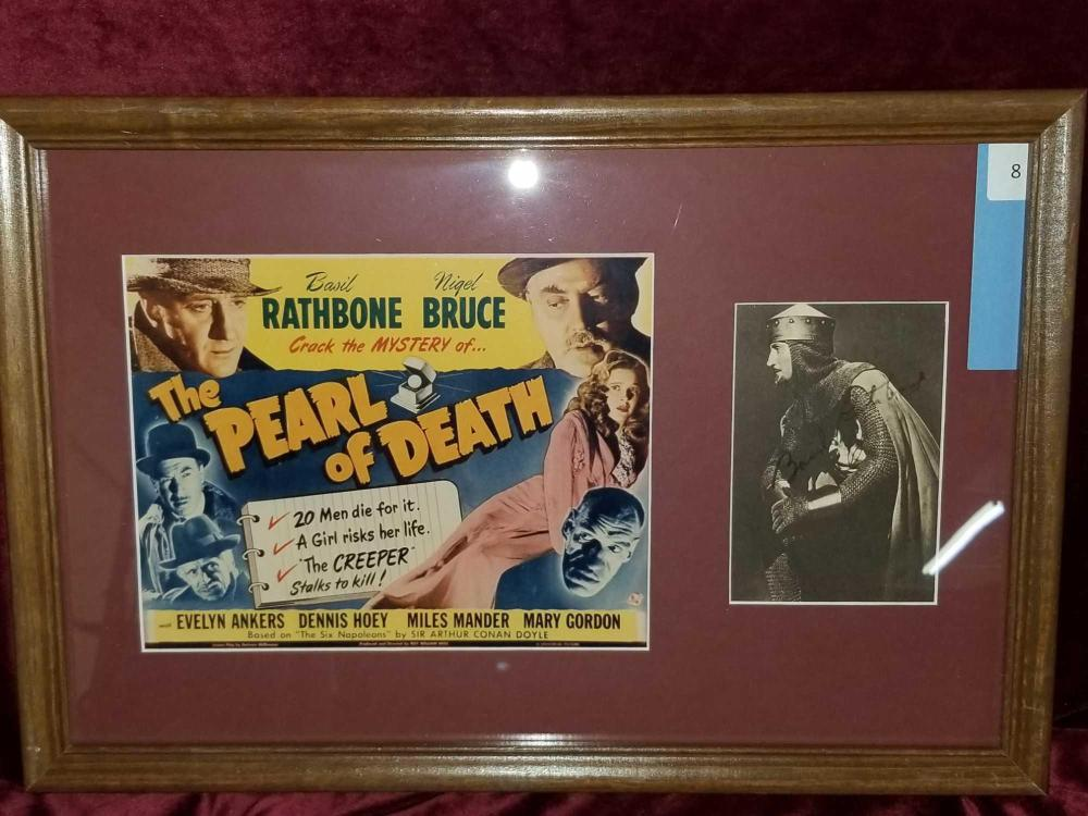 """THE PEARL OF DEATH"" MOVIE POSTER & BASIL RATHBONE SIGNATURE"