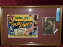 "Lot 8: ""THE PEARL OF DEATH"" MOVIE POSTER & BASIL RATHBONE SIGNATURE"