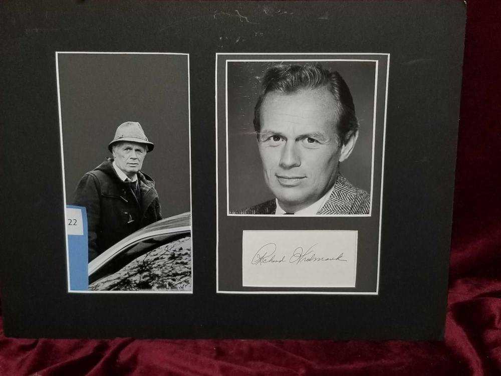 RICHARD WIDMARK BLACK & WHITE PHOTOS & SIGNATURE CARD