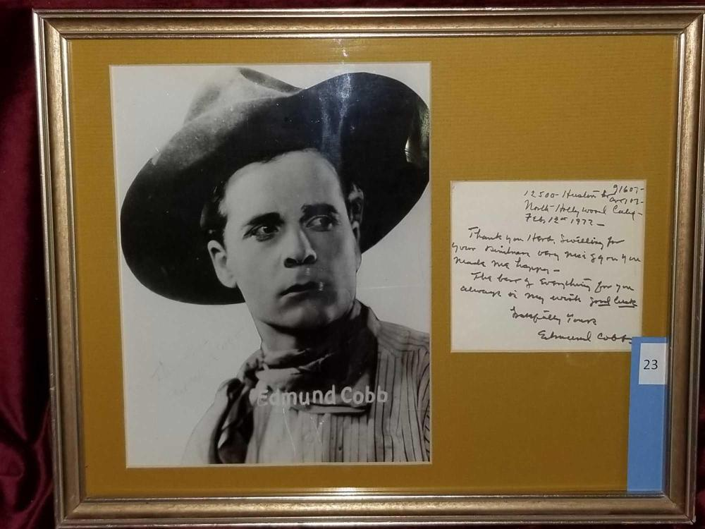 EDMUND COBB WESTERN STAR FRAMED PHOTO & SIGNATURE CARD