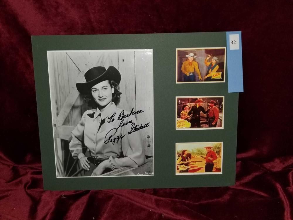 PEGGY STUART SIGNED BLACK & WHITE PHOTO W/ 3 COLOR MINI LOBBY CARDS