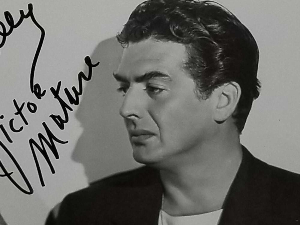 Lot 31: VICTOR MATURE BLACK & WHITE SIGNED PUBLICITY PHOTO