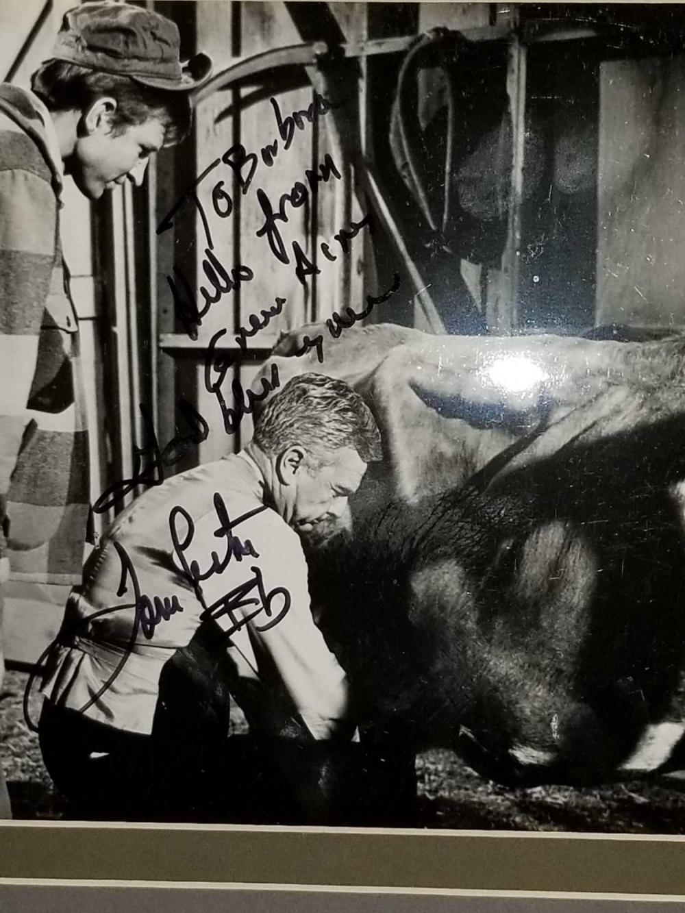 "Lot 33: TOM LESTER & EDDIE ALBERT ""GREEN ACRES"" MOVIE STILL PHOTO SIGNED BY BOTH ACTORS"