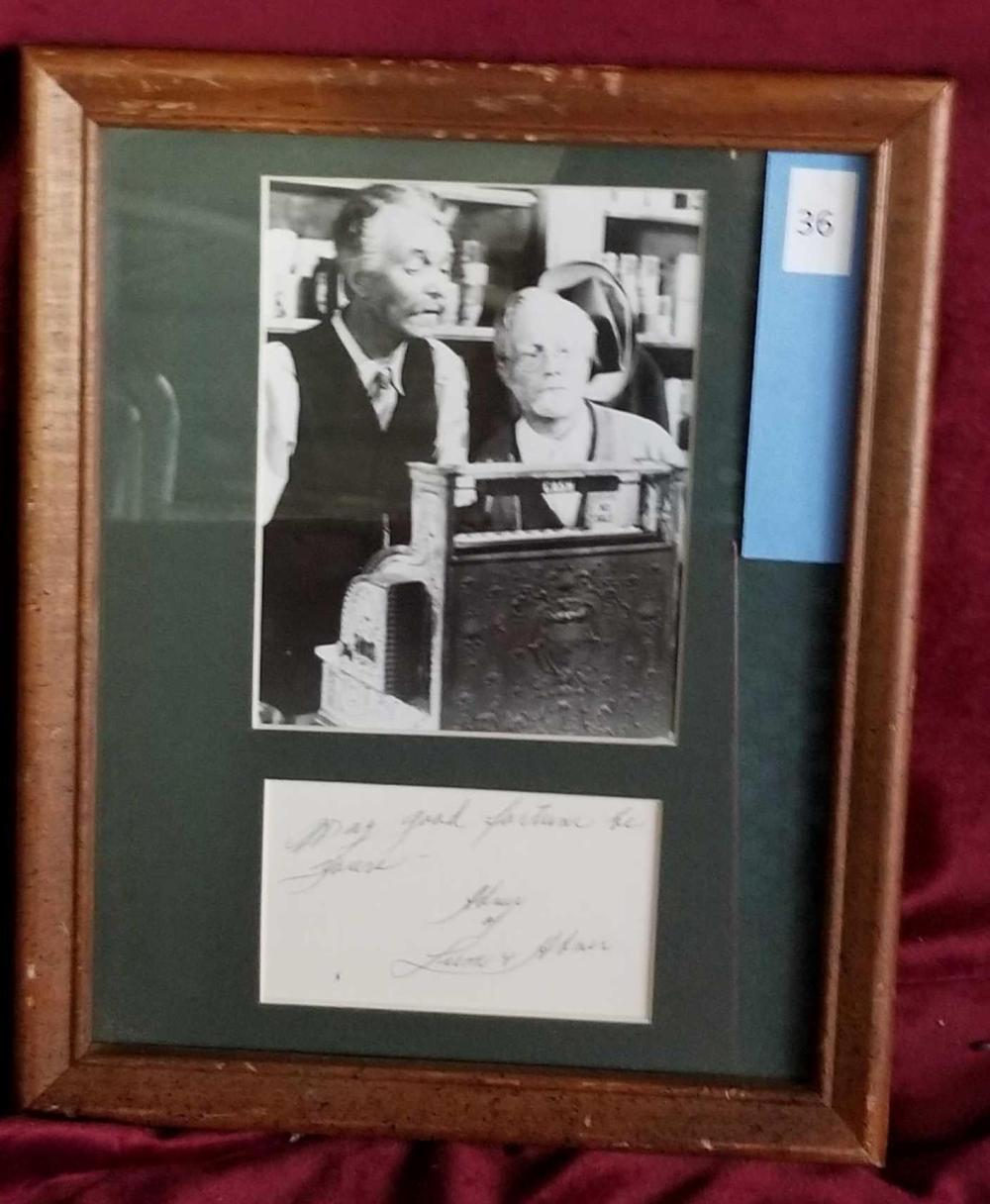 """ABNER"" OF LUM & ABNER BLACK & WHITE PHOTO W/ SEPARATE SIGNATURE CARD FRAMED"