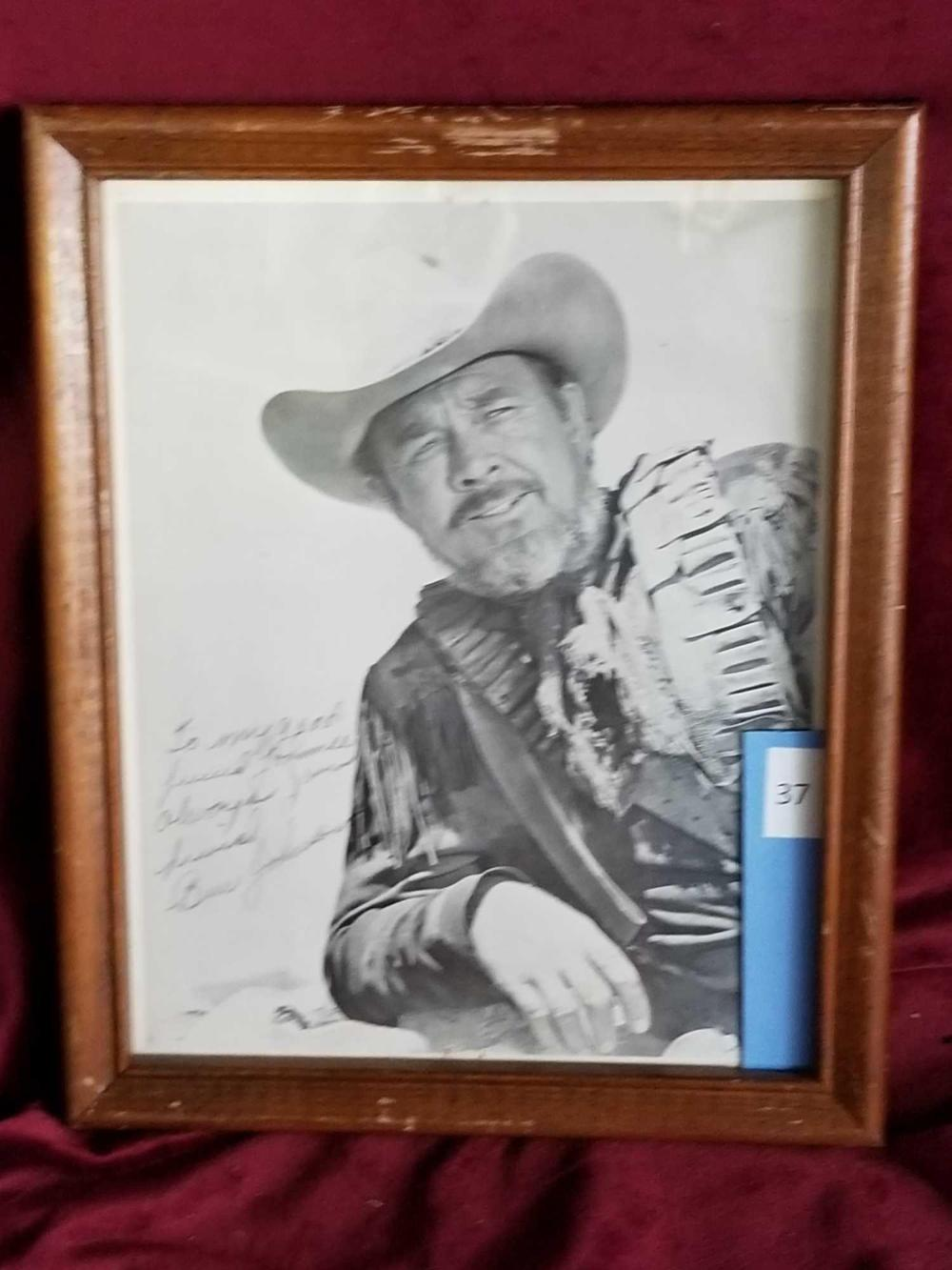 BEN JOHNSON BLACK & WHITE SIGNED WESTERN PHOTO FRAMED