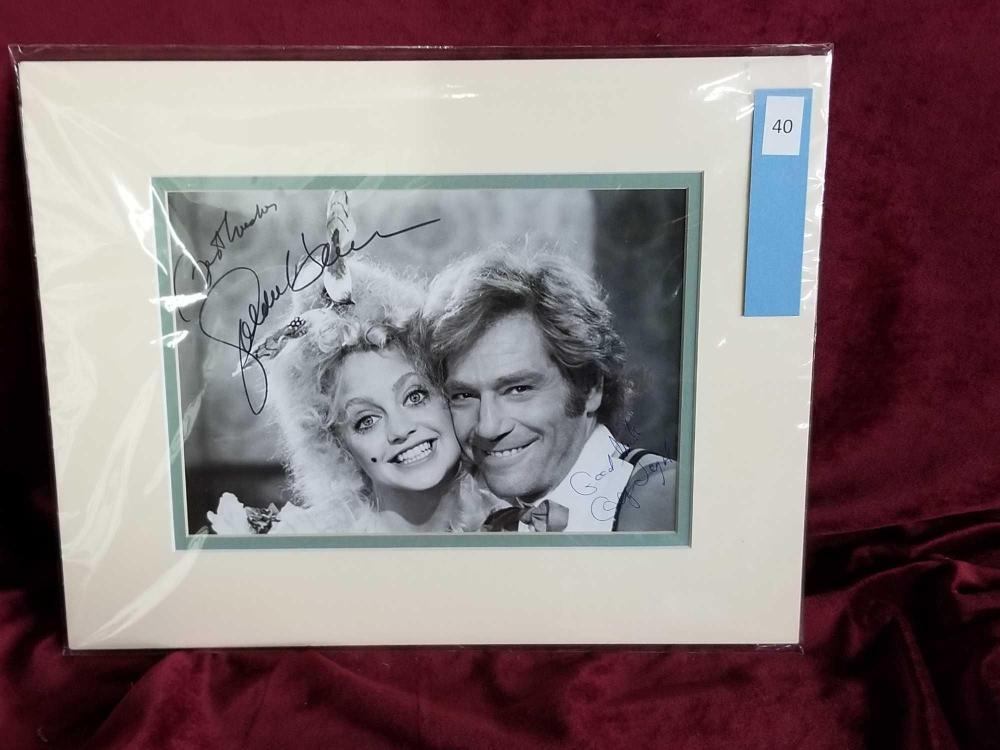 GOLDIE HAWN & GEORGE SEGAL SIGNED BLACK & WHITE PHOTO