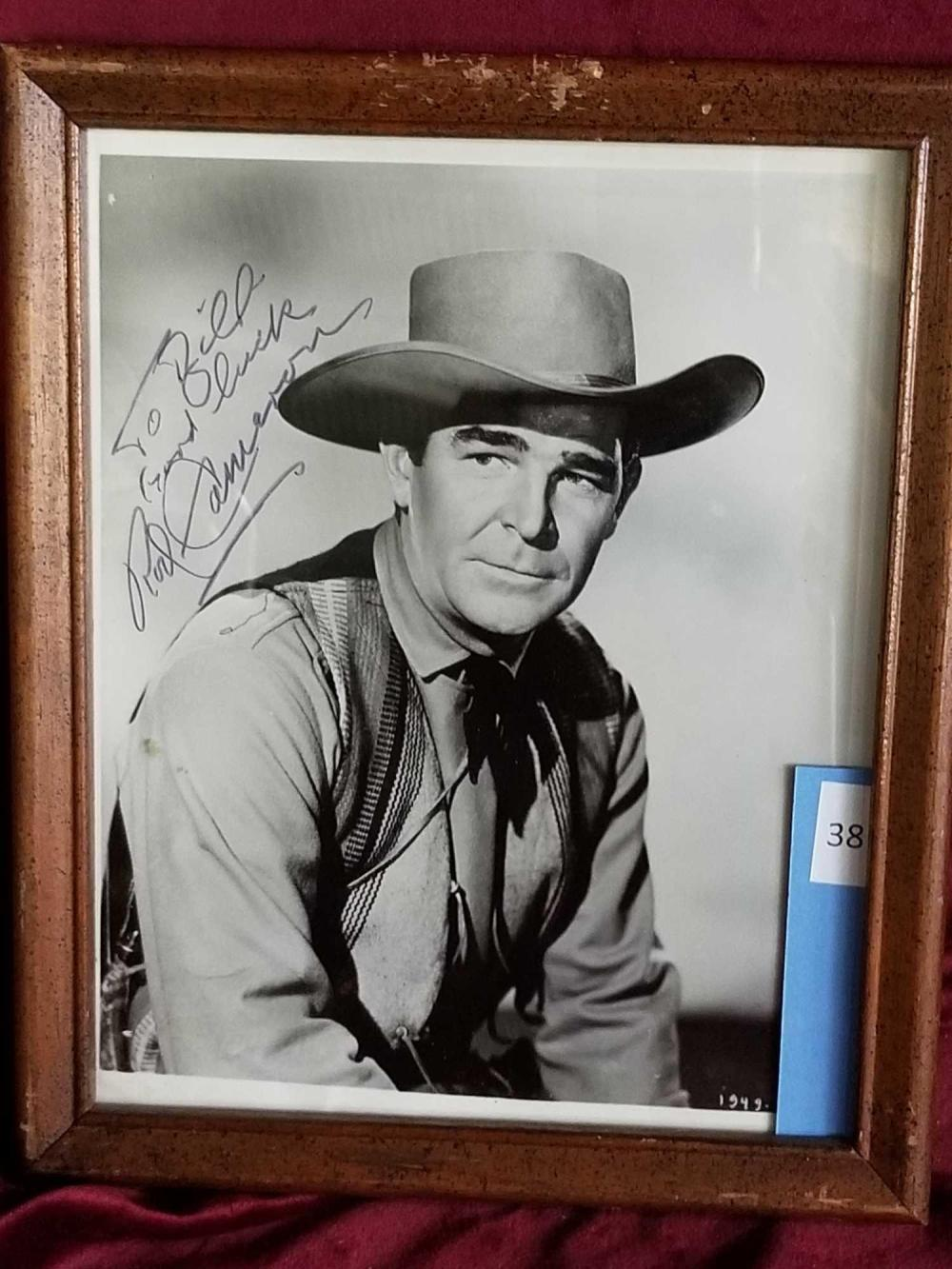 ROD CAMERON WESTERN BLACK & WHITE PHOTO SIGNED & FRAMED