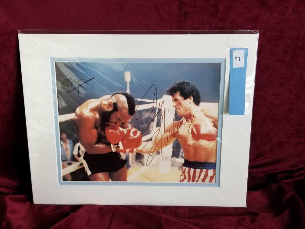MR. T & SLY STALLONE FROM ROCKY III COLOR PHOTO