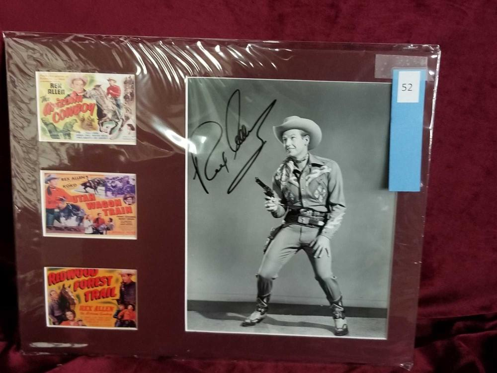 REX ALLEN SIGNED BLACK & WHITE PHOTO AND 3 MINI LOBBY CARDS