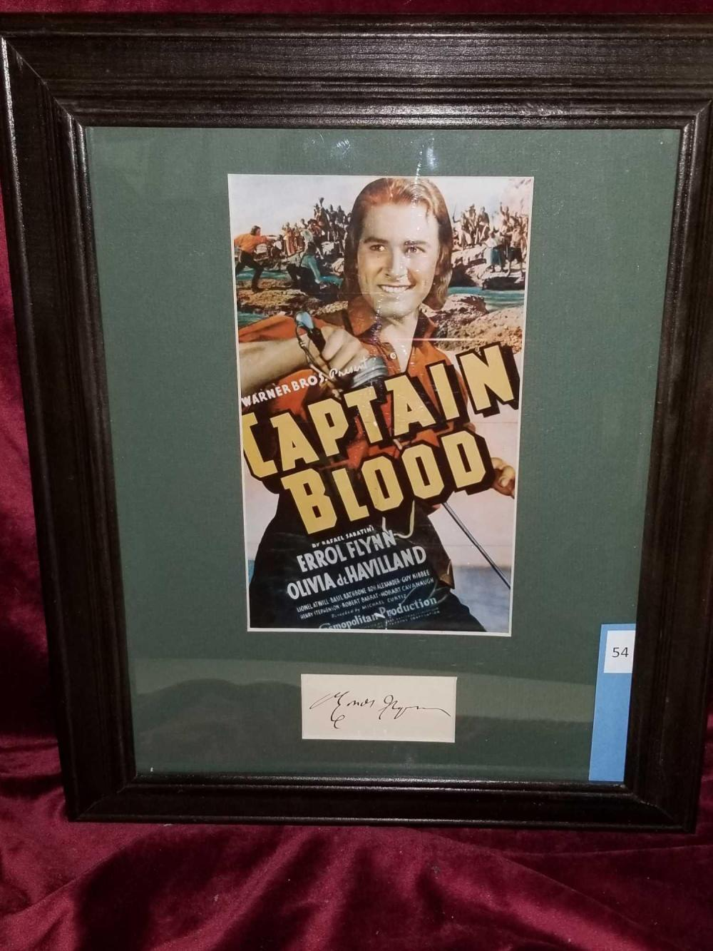 "ERROL FLYNN REPRODUCTION ""CAPTAIN BLOOD"" MOVIE POSTER W/ AUTOGRAPH CARD"