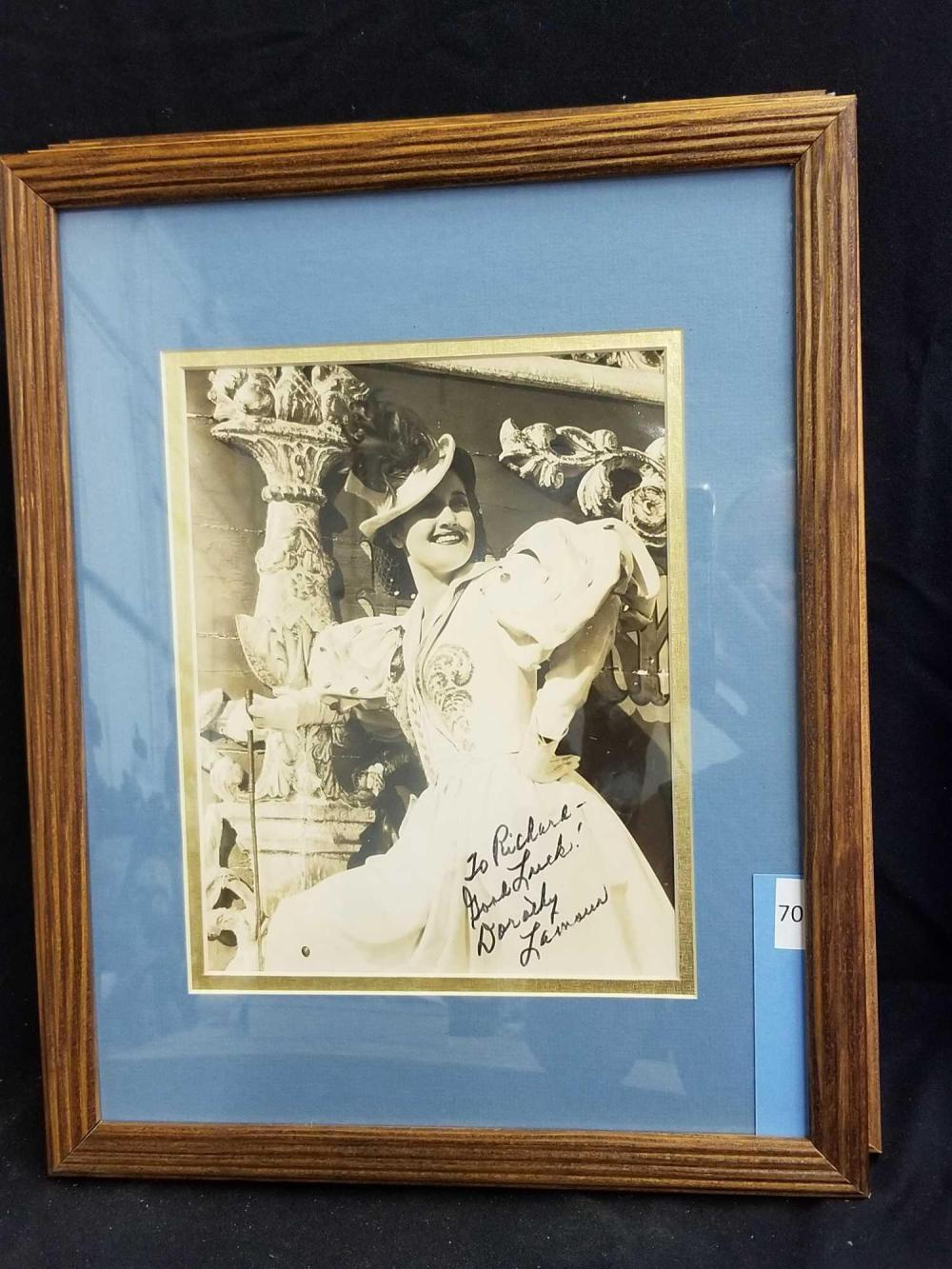 DOROTHY LAMOUR SEPIATONE MOVIE STILL SIGNED PHOTO