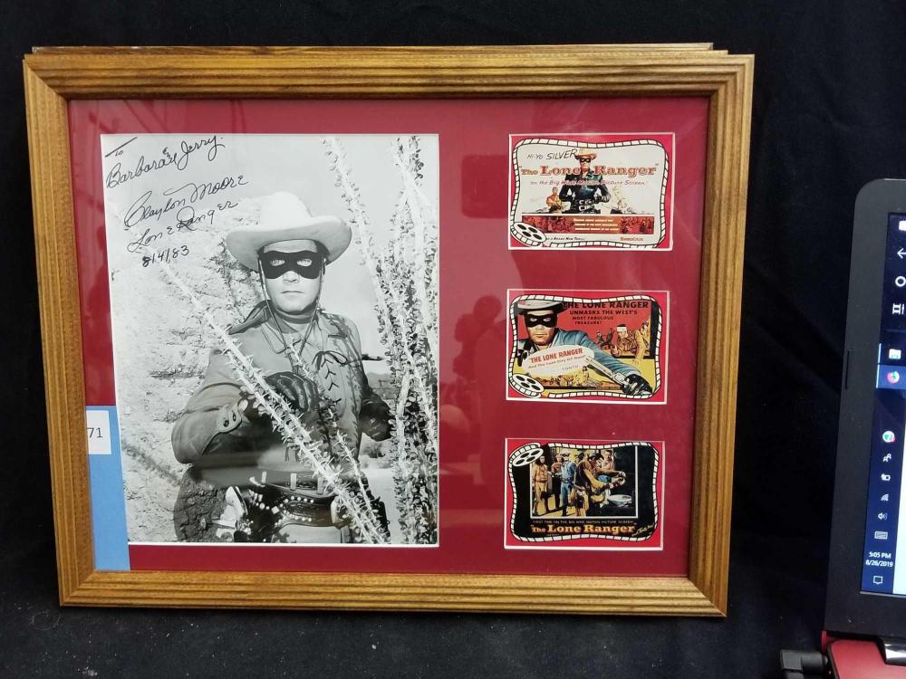 "CLAYTON MOORE ""THE LONE RANGER"" SIGNED BLACK & PUBLICITY PHOTO W/ 3 MINI LOBBY CARDS"