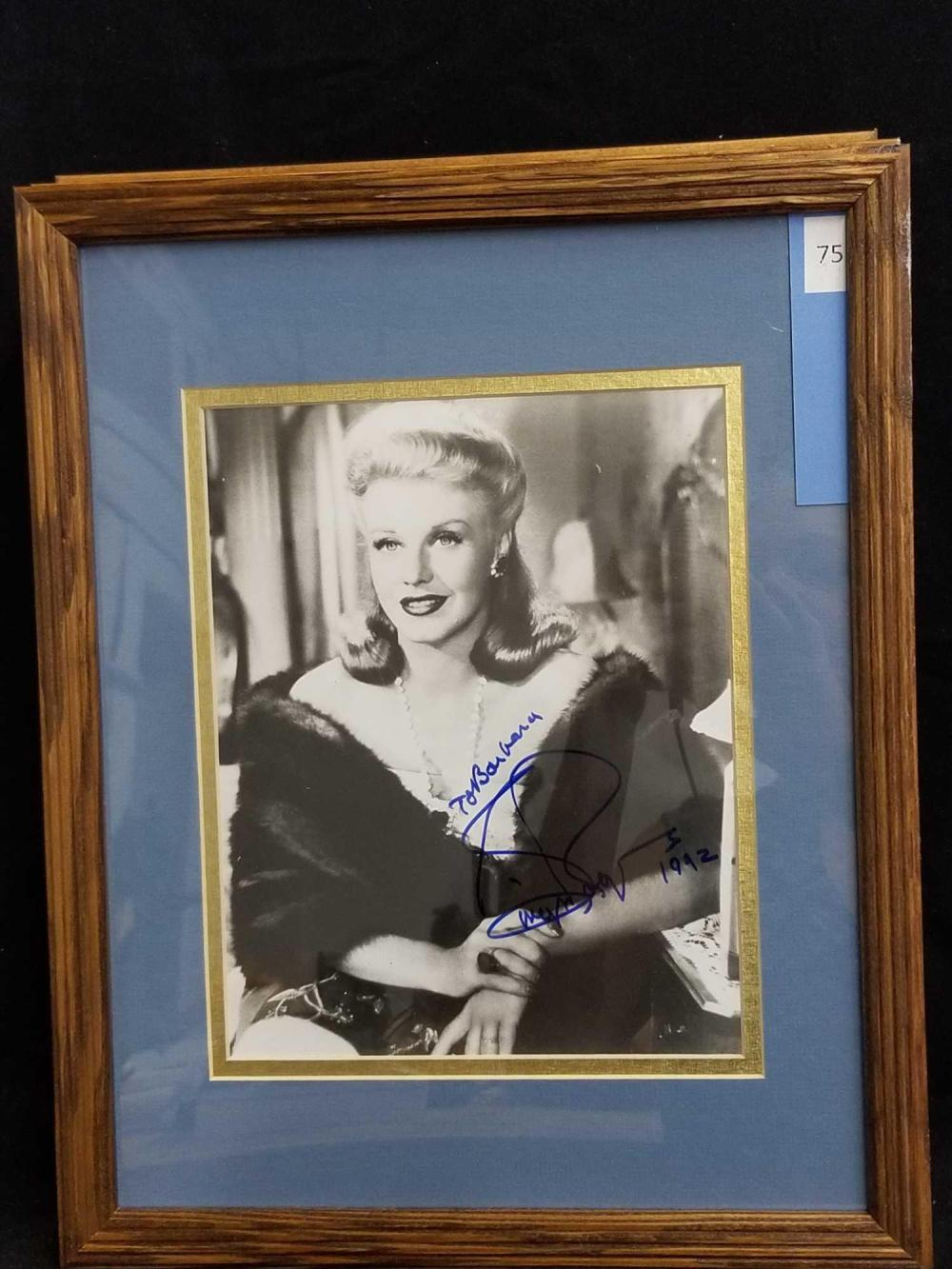 GINGER ROGERS SIGNED BLACK & WHITE MOVIE STILL PHOTO