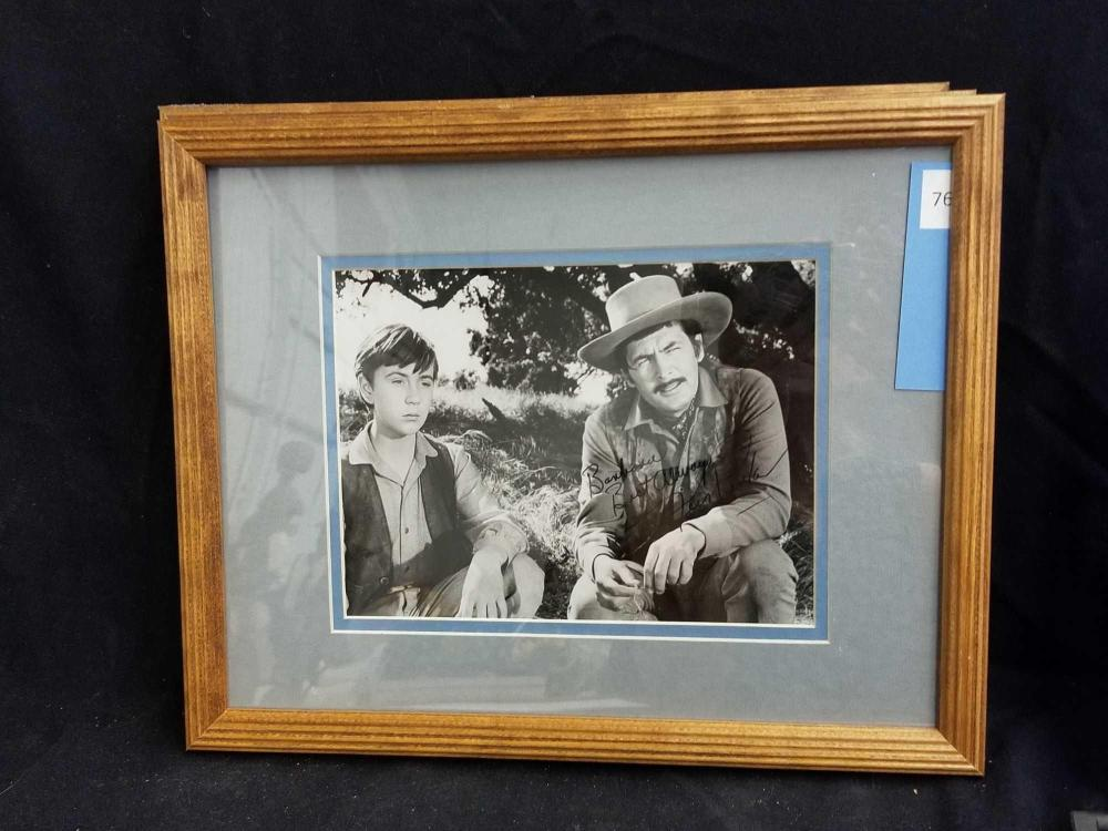 FESS PARKER BLACK & WHITE SIGNED MOVIE STILL PHOTO