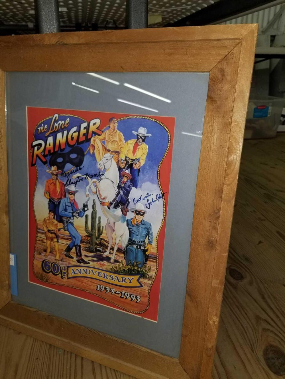 THE LONE RANGER 60TH ANNIVERSARY SIGNED EMBOSSED TIN SIGN