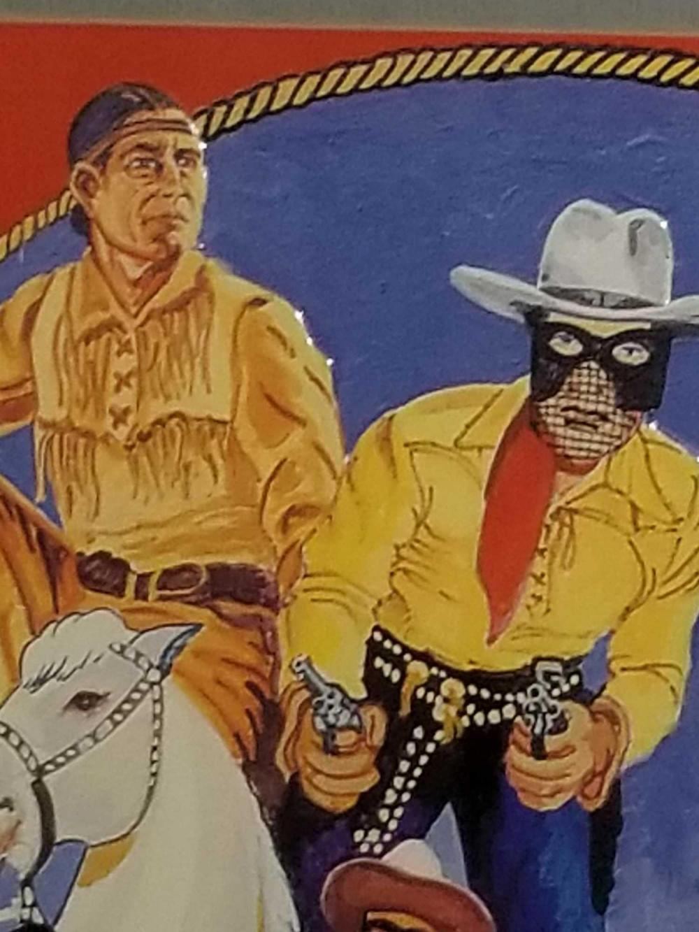 Lot 79: THE LONE RANGER 60TH ANNIVERSARY SIGNED EMBOSSED TIN SIGN