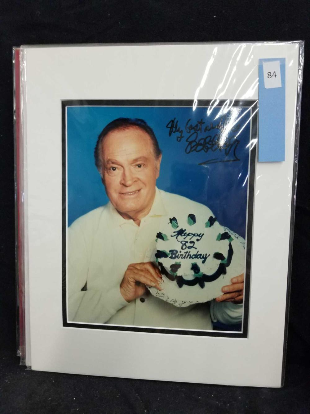 BOB HOPE COLOR SIGNED 82ND BIRTHDAY PHOTO