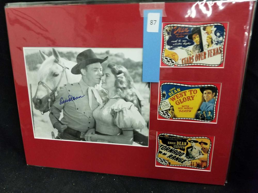 EDDIE DEAN SIGNED BLACK & WHITE MOVIE STILL & 3 MINI REPRODUCTION LOBBY CARDS
