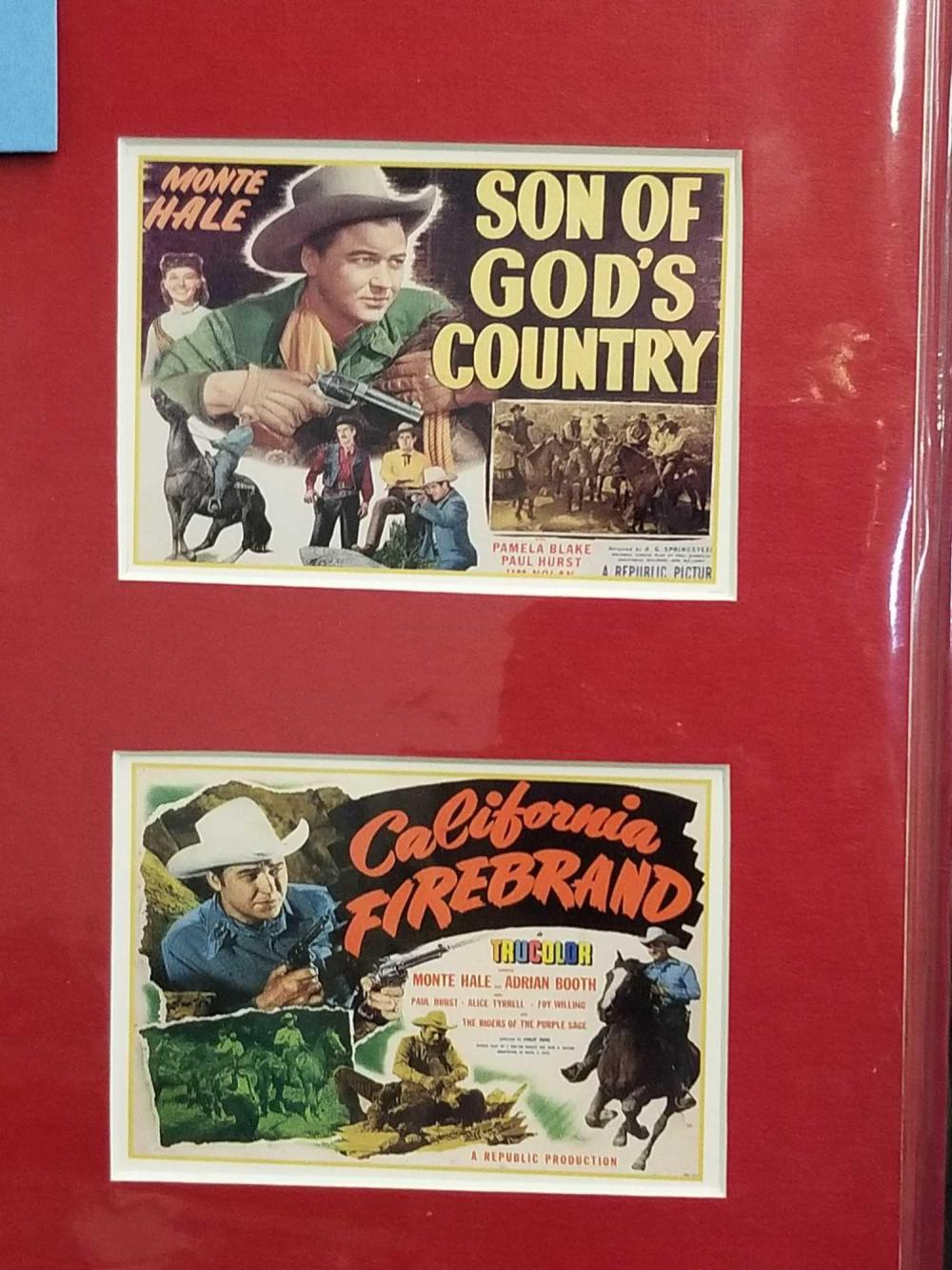 Lot 86: MONTE HALE BLACK & WHITE SIGNED PUBLICITY PHOTO W/ 3 MINI LOBBY CARDS