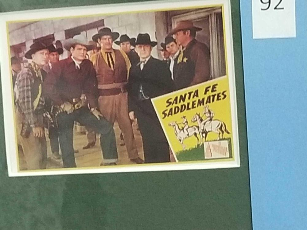 Lot 92: SUNSET CARSON SIGNED BLACK & WHITE PUBLICITY PHOTO & 3 REPRODUCTION MINI LOBBY CARDS