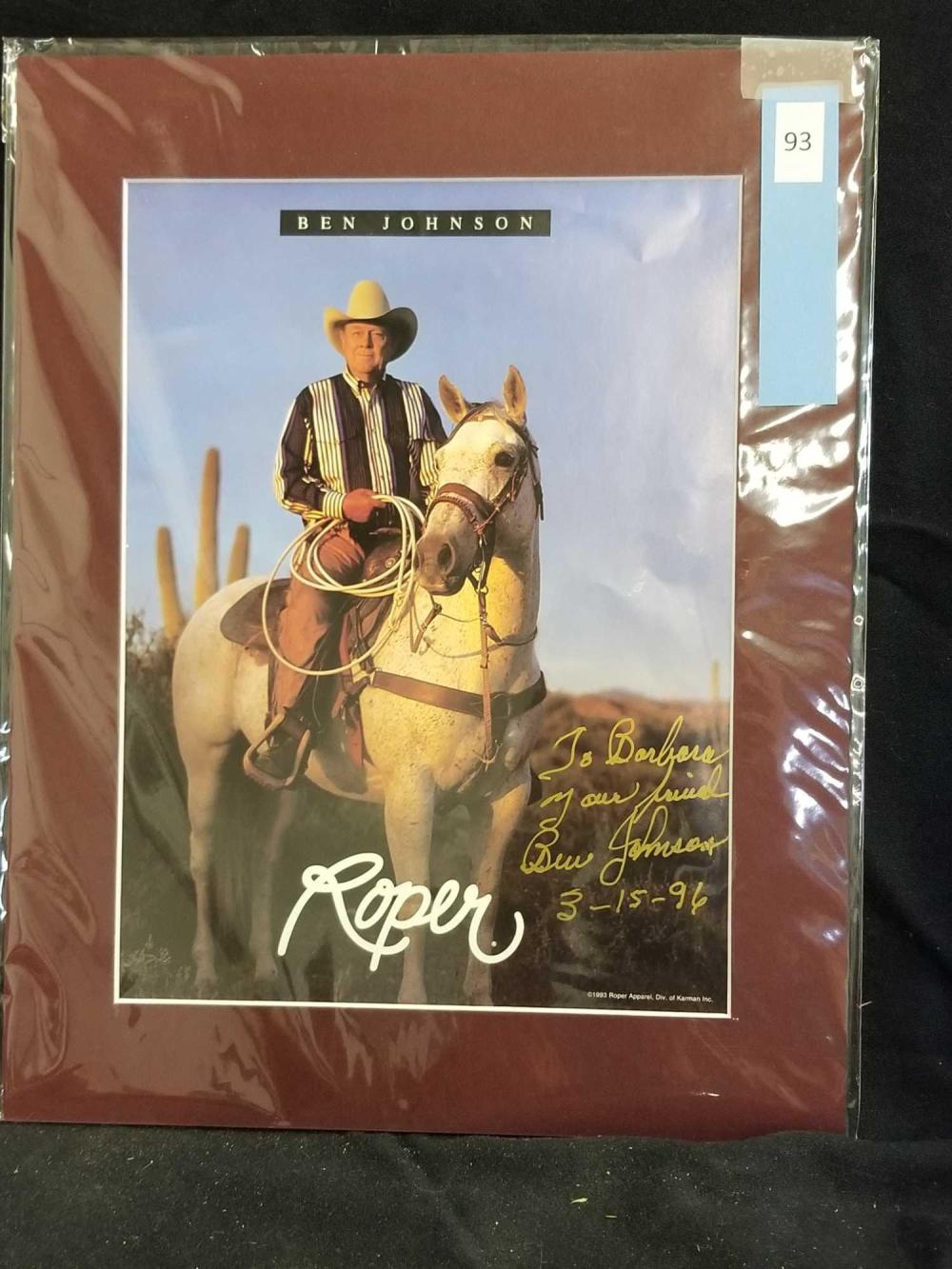 BEN JOHNSON SIGNED ROPER APPAREL AD