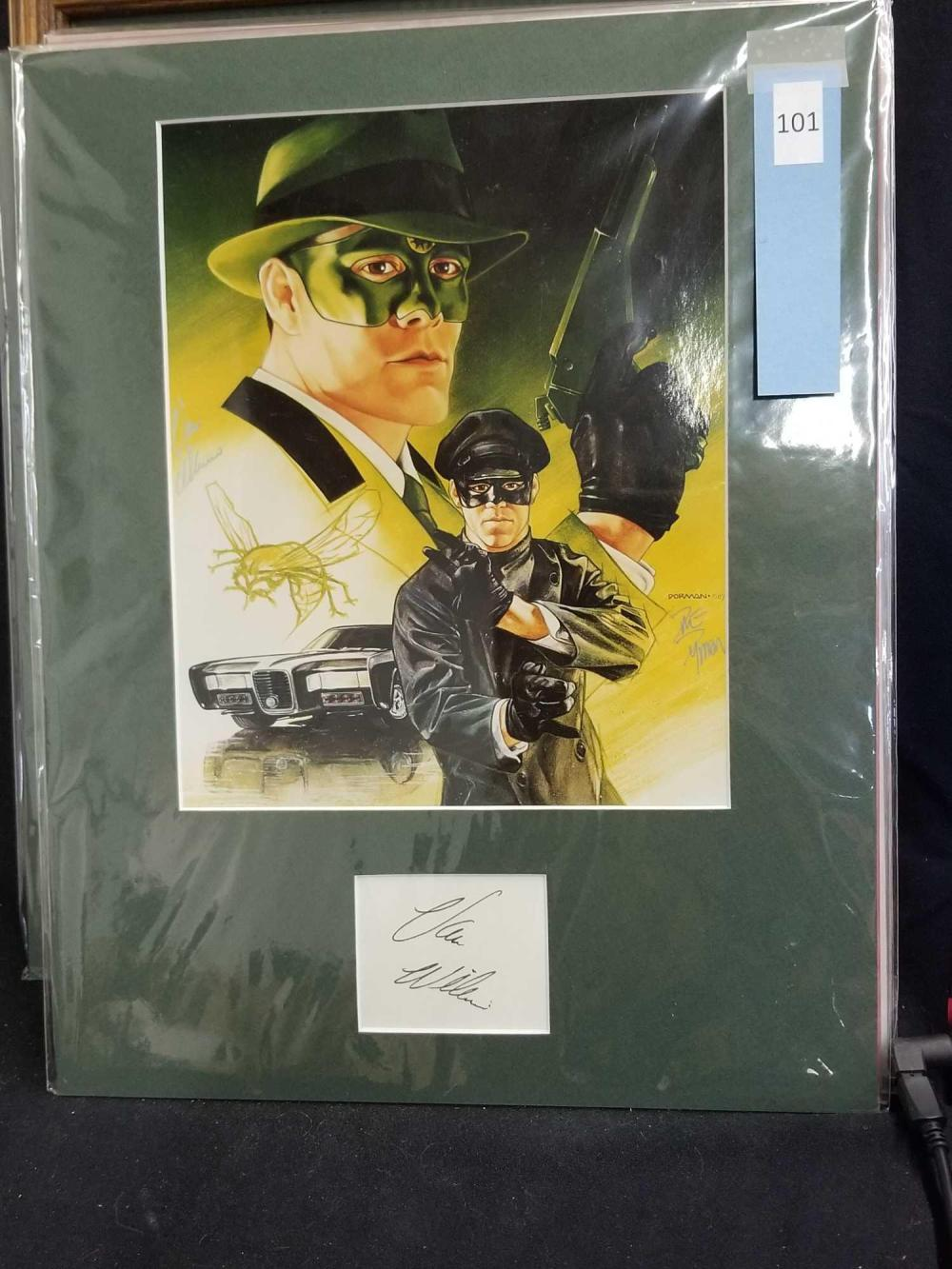 "VAN WILLIAMS ""GREEN HORNET"" SIGNED POSTER & AUTOGRAPH CARD"
