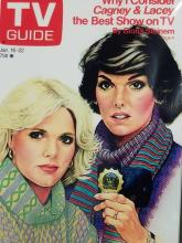 Lot 102: REPRODUCTION TV GUIDE COVER W/ TYNE DALY & SHARON GLESS & SIGNATURE CARDS