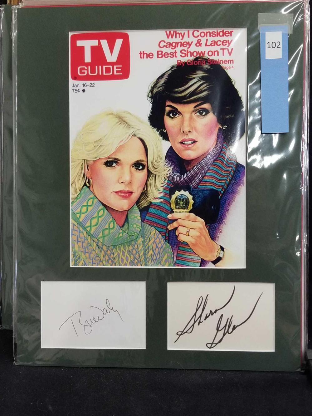 REPRODUCTION TV GUIDE COVER W/ TYNE DALY & SHARON GLESS & SIGNATURE CARDS
