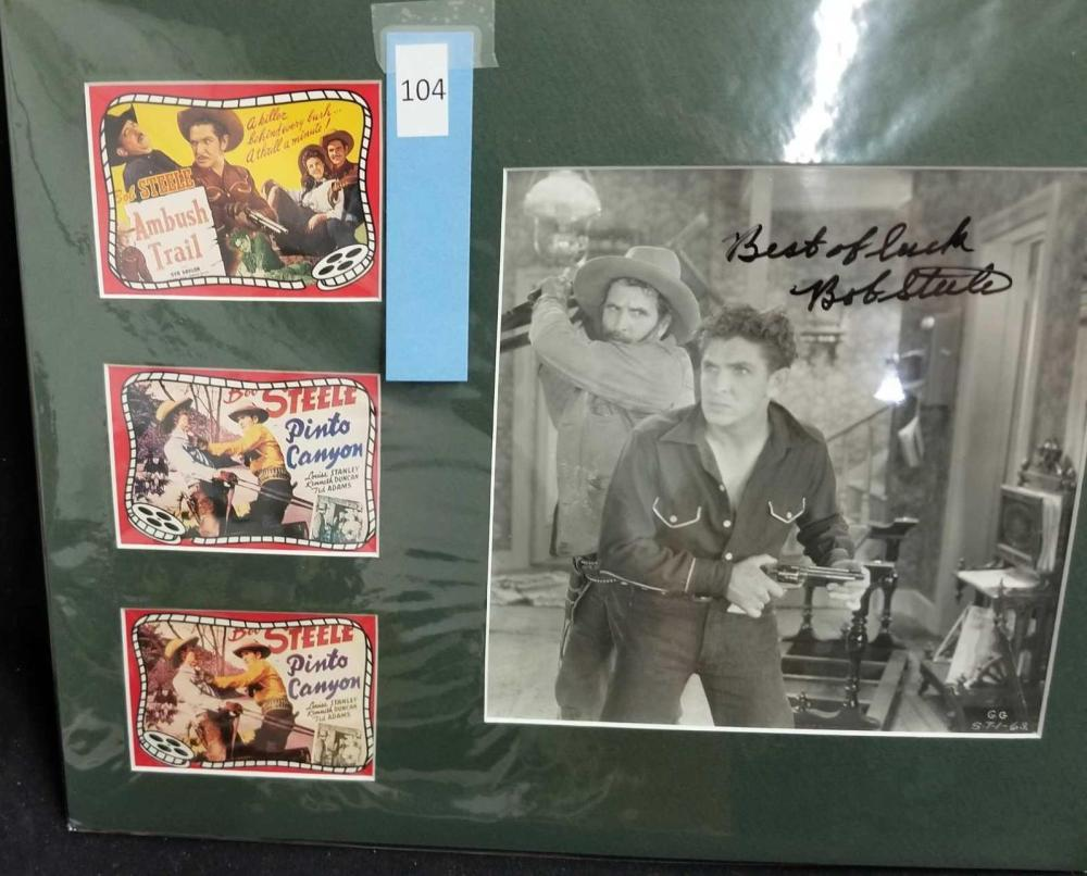 BOB STEELE SIGNED BLACK & WHITE PHOTO W/ 3 MINI REPRODUCTION LOBBY CARDS