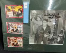 Lot 104: BOB STEELE SIGNED BLACK & WHITE PHOTO W/ 3 MINI REPRODUCTION LOBBY CARDS
