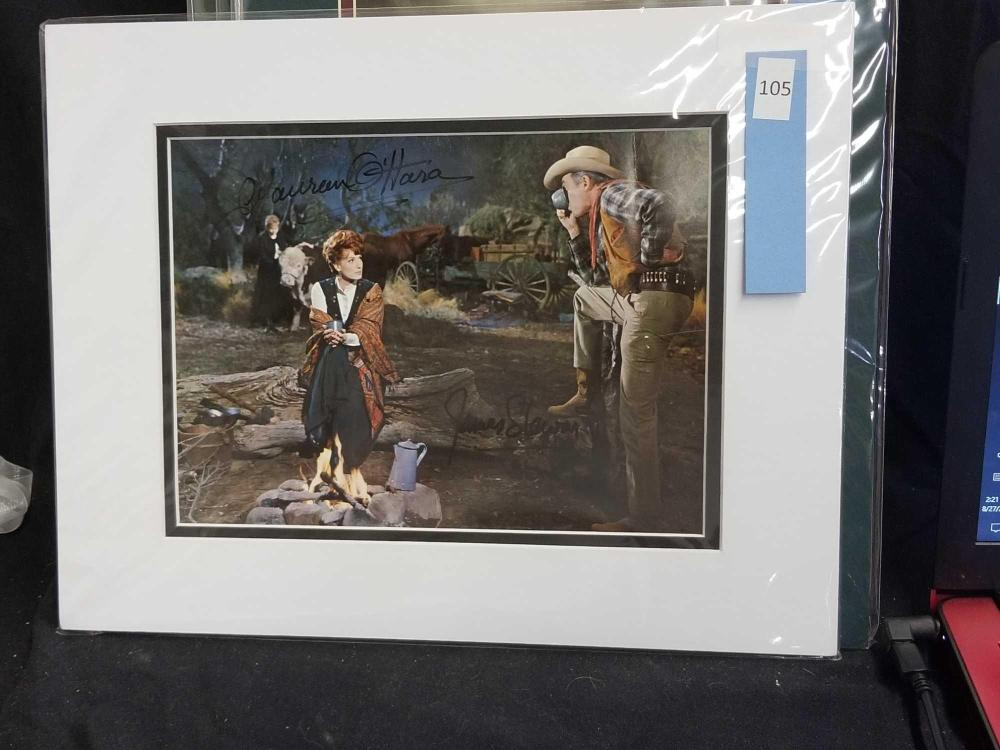 MAUREEN O'HARA & JIMMY STEWART SIGNED REPRODUCTION MOVIE STILL PHOTO