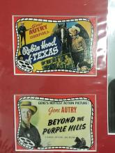 Lot 103: GENE AUTRY SIGNED BLACK & WHITE PHOTO W/ 3 MINI REPRODUCTION LOBBY CARDS