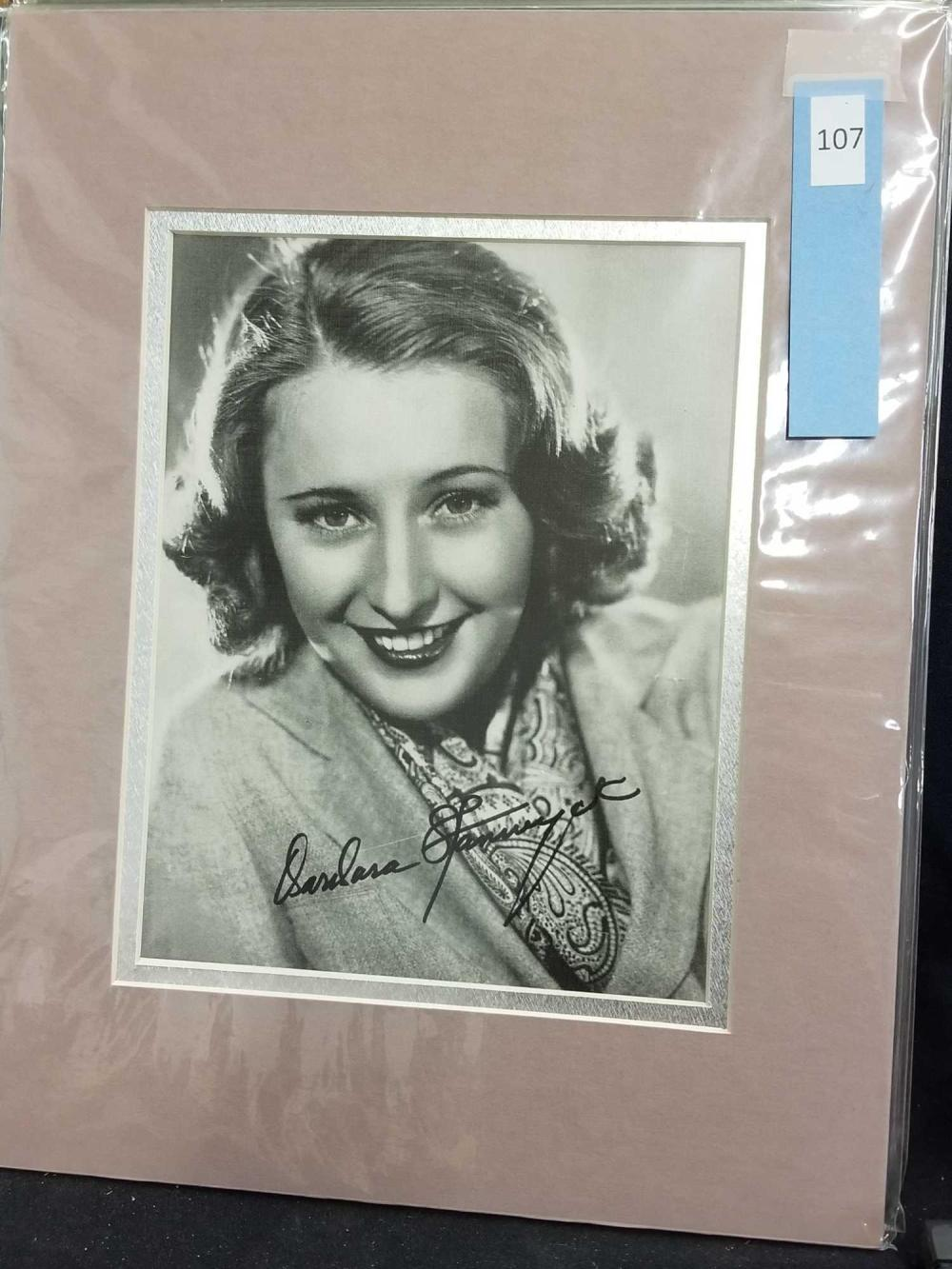 BARBARA STANWYCK SIGNED PUBLICITY PHOTO
