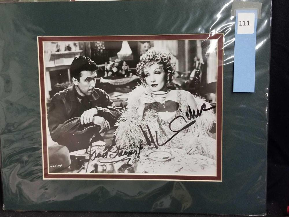 MARLENA DIETRICH & JAMES STEWART BLACK & WHITE SIGNED MOVIE STILL PHOTO