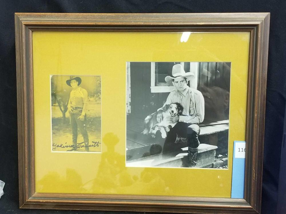 "EDWARD ""YAKIMA""CANUTT BLACK & WHITE MOVIE STILL PHOTO & SIGNED OLD SEPIATONE PHOTO"