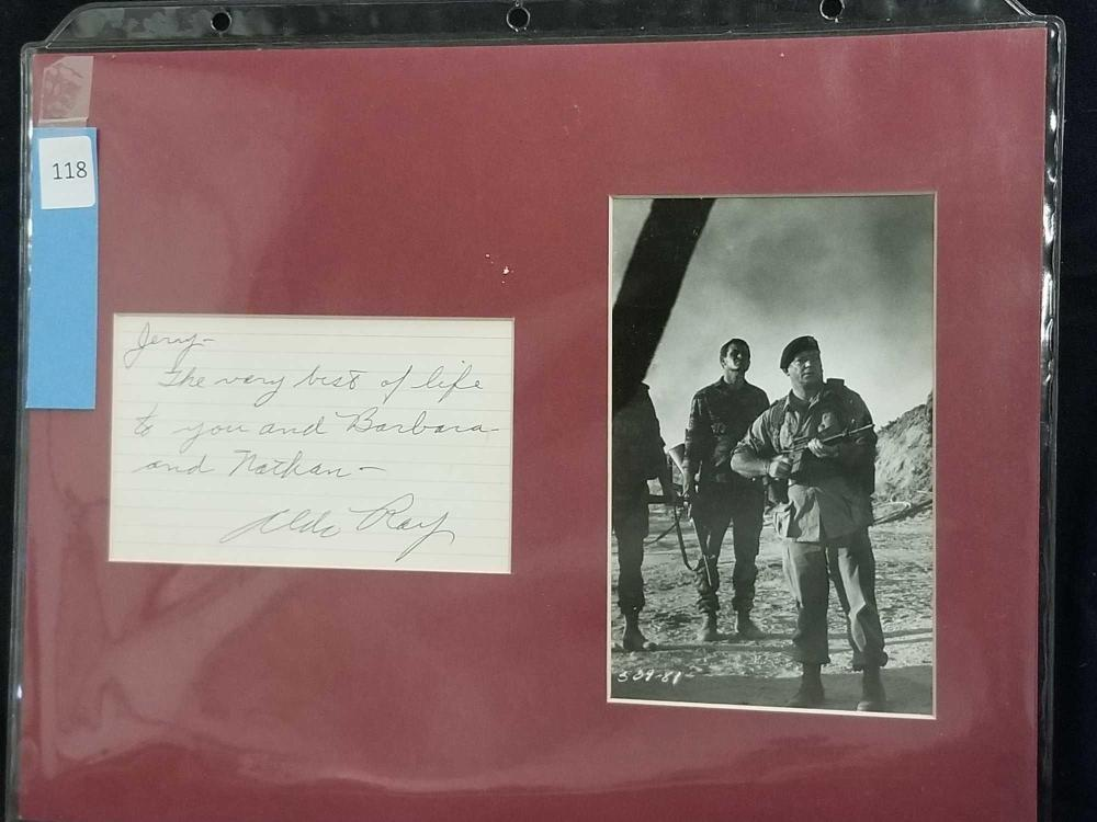 ALDO RAY BLACK & WHITE MOVIE STILL W/ SIGNATURE CARD