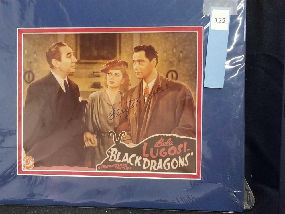 CLAYTON MOORE W/ BELA LUGOSI SIGNED COLOR LOBBY CARD