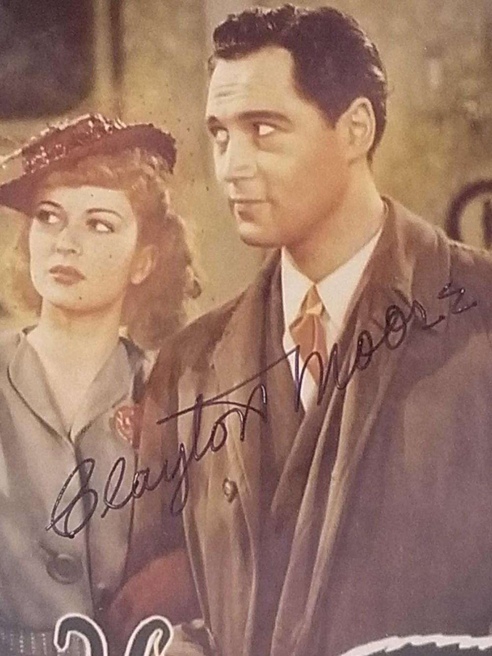 Lot 125: CLAYTON MOORE W/ BELA LUGOSI SIGNED COLOR LOBBY CARD