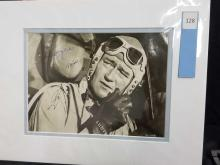 Lot 128: JOHN WAYNE BLACK & WHITE SIGNED MOVIE STILL PHOTO
