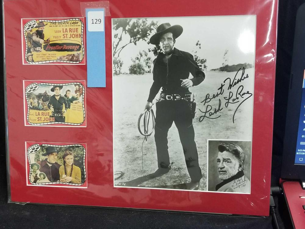 "LASH LA RUE"" SIGNED BLACK & WHITE PHOTO W/ INSET PHOTO & 3 MINI REPRODUCTION LOBBY CARDS"