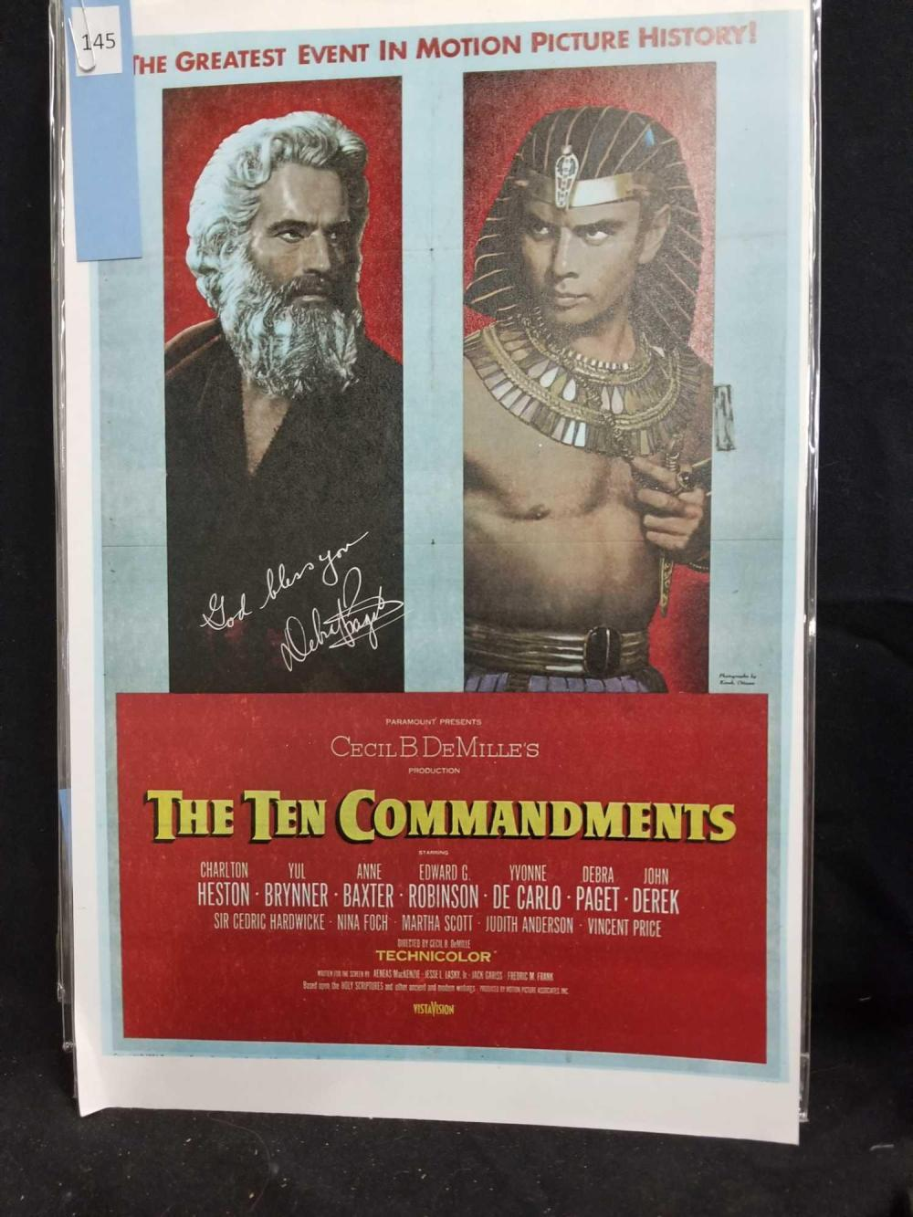 "DEBRA PAGET SIGNED ""THE TEN COMMANDMENTS"" REPRODUCTION POSTER"