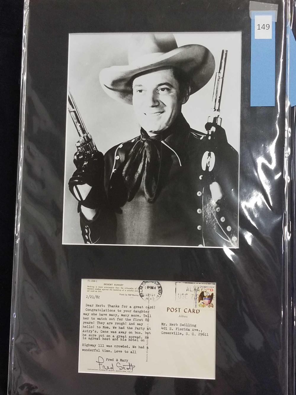 FRED SCOTT BLACK & WHITE PUBLICITY PHOTO & SIGNED POSTCARD